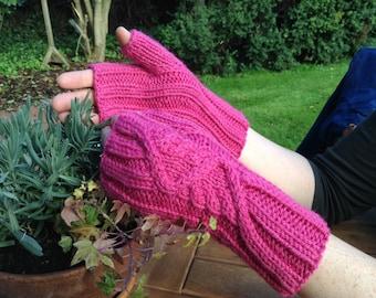 Hand knitted fingerless mittens, alpaca mix, dark cerise pink colour