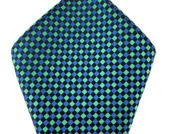 Mens Pocket Square.Green Black Aqua blue Handkerchief.Formal Suit .Pocket squares. Hanky. Tuxedo Tie Necktie Pocket Square.