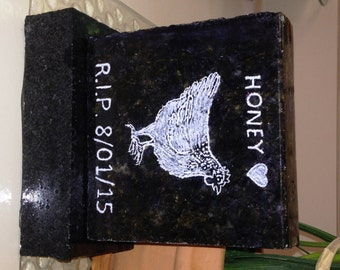 "Custom Pet Memorial Small Pet Grave marker, Head Stone with Granite BASE*, DESIGN Your Own Grave Stone, 3-1/2"" x 4""x1""*"