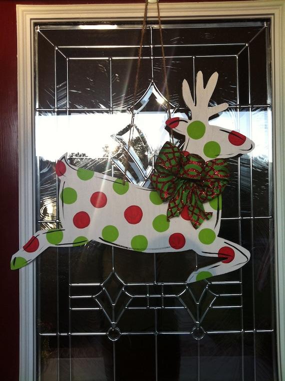 Polka Dot Reindeer Wooden Door Hanger
