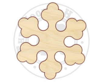"Snowflake 4""-12"" - Wood Cutout  - 160235 - Unfinished wood"