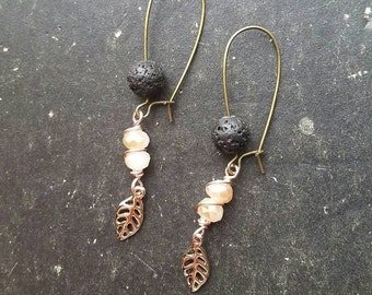 New Leaf Earrings * Lava Essential Oil Diffuser Earrings --- Aromatherapy Jewelry