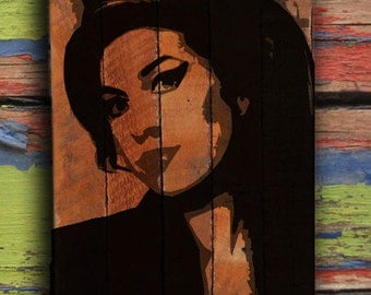 Amy Winehouse Painting on reclaimed wood - Amy Winehouse Wall Art
