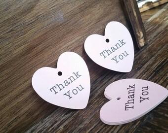 50Pcs Lovely Light Pink Heart Tag, Wedding Bonbonniere Heart Shaped Thank You tag, Diameter 4cm