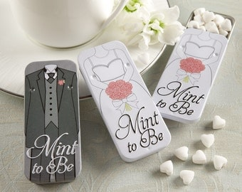 Mint to Be Bride and Groom Slide Mint Tins with Heart Mints Candy Tin Goodies Treats Black and White Wedding Tin Cans Bridal Shower Favors