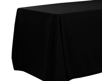 Black Tablecloths 90 X 156 inches Rectangular with Rounded Corners, Table Cloths for 8 FT Tables  | Wholesale Table Linens, Table Decor