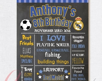 Real Madrid Chalkboard Poster . Soccer chalkboard poster. Real Madrid birthday  poster. Real Madrid party. Printable Birthday Poster