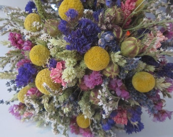 Deluxe Rustic Rainbow Bridal Bouquet. Handtied Arrangement with Billy Buttons, Dried Wedding Flowers for Bride Vibrant Country Bespoke