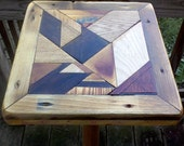 Scrap Wood Abstract Pedestal Mosaic Plant Stand/Small table