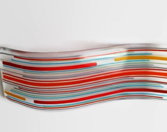 Plaque Fused Glass Striped Wave - Stripe Candle Holder - Curved Striped Self Standing Glass Ornament,  Home Decor Ideas