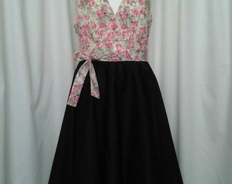 Vintage inspired halterneck dress with full circle skirt
