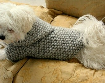 READY TO SHIP Dog Hoodie Sweater  Grey  Pet Clothing Hand Knit Dog Clothes Button Dog Sweater by BubaDog