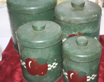 Ransburg, Tin Apple Canister, set, Hand Painted, Rustic Canisters