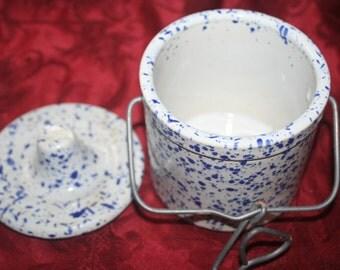 Blue Speckled, Stoneware Crock,  Lid