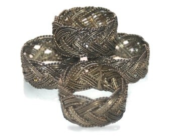 Vintage Copper Napkin Rings, Braided,  Napkin Rings