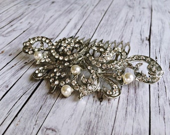 Hair Jewelry Silver - Bridal Jewelry: white pearls