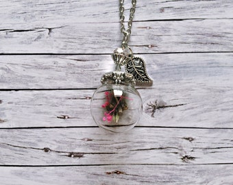 Silver chain with real dandelion flowers, wish emblem