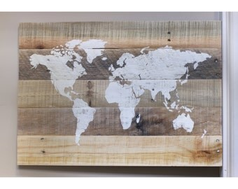 Rustic World Map Wood Sign