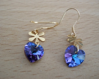Lovely Vermeil, Gold Plated Sterling Silver, Swarovski Elements Turquoise/Blue/Purple Heart Earrings with Vermeil Flower Connectors