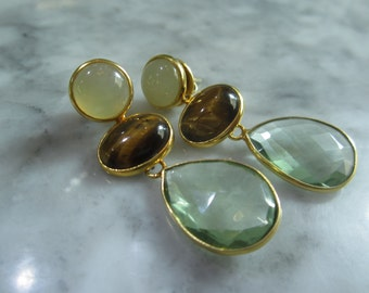 Earrings Chandelier Tigereye Prehnit Tahiti pearls Sout sea pearls Briolett Gold Rose