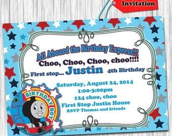 50%off Thomas Birthday Invitation-Thomas Invite-Thomas Party