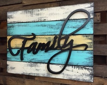 SIGN FAMILY Reclaimed Pallet Wood Wall Home Decor Large Distressed Unique Burgundy Tan Green Blue White Yellow Black Picture Living Room