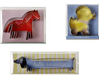 Set of 3 animal cookie cutters from Meri Meri