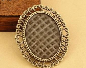 10pcs 40 x 30mm Antique Bronze Cabochon Pendant Base, Oval pendant setting, Oval Pendant Trays, Bezel Cabochon Settings S001050