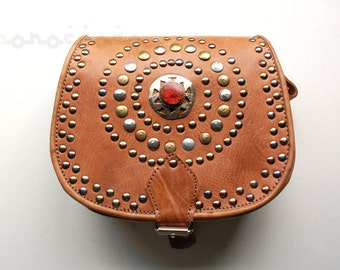 Leather bag with studs and central stone. High quality. Moroccan. 7x8'5 inches.