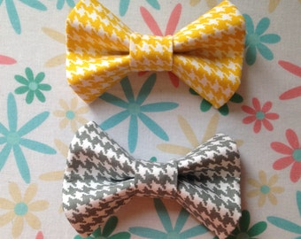 Houndstooth Bow Tie in Gray and Yellow