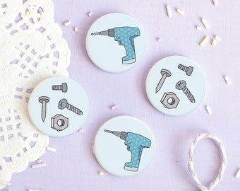 Tool Box Badges - Those Who Fix Collection - Button Pin
