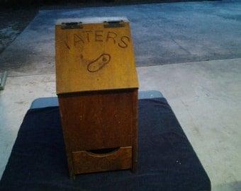Vintage Handmade Wooden Taters & Onion Box