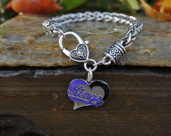 Sacramento Kings Basketball Mother's Day Heart Bracelet Silver Black NBA Valentine's Day Fall Silver Large Heart Lobster Clasp Chain