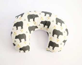 Nursing Pillow Cover: Triangle Bear. Bear Nursing Pillow. Gender Neutral Nursing Pillow Cover. Nursing Pillow Cover
