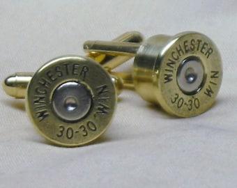 Bullet Cufflinks 30-30 Winchester Brass Wedding Cufflinks for Men