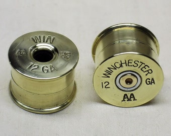 "2 Guitar Knobs, Winchester Brass Shotgun Shell Guitar Knobs DOUBLE 5/8"" High"