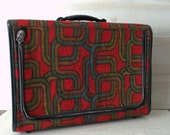 Skyway Geometric Tweed Mod Suitcase, 1960s Mod Fabric Suitcase, Mid Century Modern Fabric Luggage