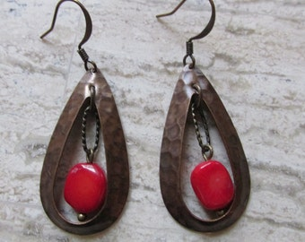 Red Coral and Brass Cutout Earrings