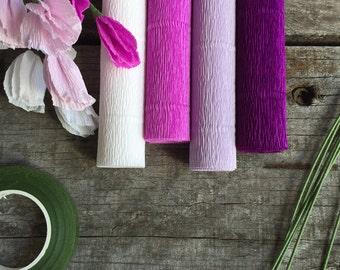 DIY Crepe Paper Flower Kits - Light Purple