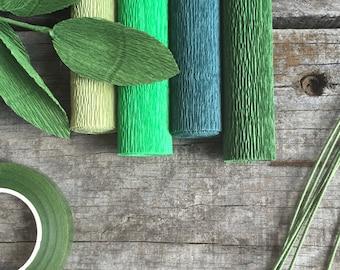 DIY Crepe Paper Flower Kits - Four Greens
