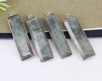 5-10pcs Nature Labradorite Stone Druzy Pendant,Rectangle Shape,Druzy Gemstone Labradorite Pendant For Jewelry Making