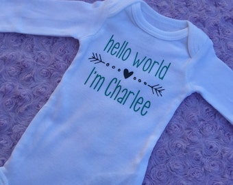Hello world. Baby announcement. Baby coming home outfit. Baby shower gift. hello world announcement. Birth announcement. Baby girl. baby boy