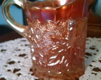 carnival glass maple leaf marigold creamer