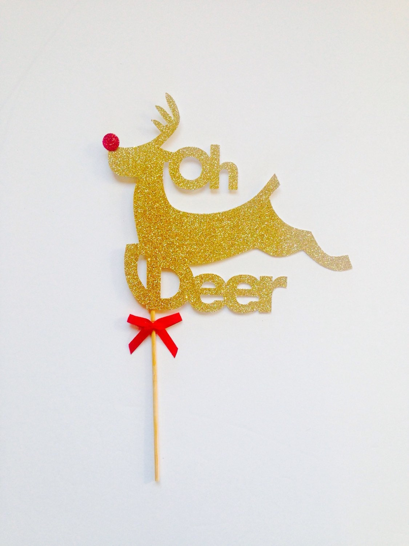 Hunting Cake Decorations Uk : Christmas cake topper oh deer in gold glitter cake topper