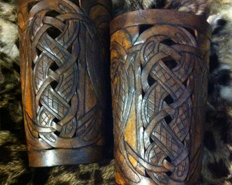 "Leather bracers, Viking- ""Buliwyf"" HALF LENGTH celtic dragon cut-out design in brown tones"