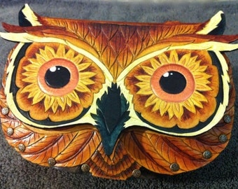 "Leather purse, handbag- ""Seeing Sunflowers"" tooled leather owl purse with sunflower eyes"
