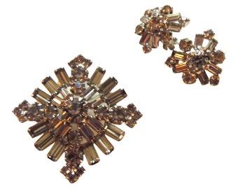 Classic Black Diamond Rhinestone Brooch/Pin And Earrings Vintage 1950
