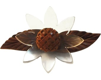 Vintage Lucite and Wood Flower Pin/Brooch