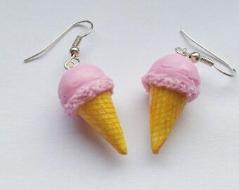 Earrings ice cream strawberry - Couleur-lavande