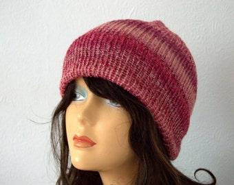 Handmade Hand Knitted Chunky Knit Winter Hat - Beautiful Pink Mix